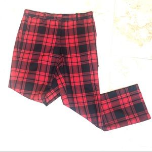 Gap Red/Black Gingham tailored ankle pants 4